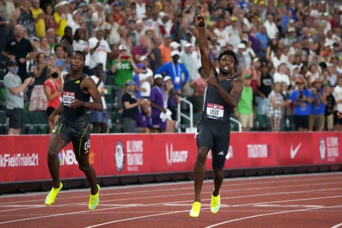 200 mètres hommes : Noah Lyles (États-Unis) contre Erriyon Knighton (États-Unis)