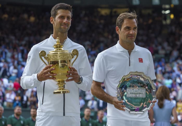 Tennis masculin : Roger Federer (Suisse) et Novak Djokovic (Serbie)