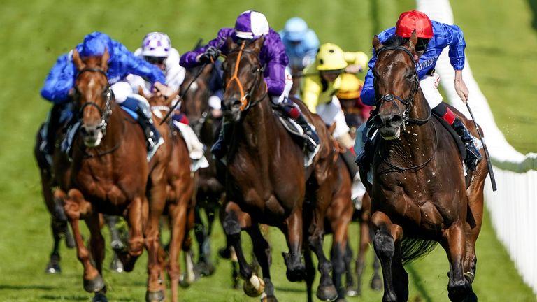 Mojo Star, dans les couleurs violettes d'Amo Racing, poursuit Adayar, vainqueur du Derby à domicile