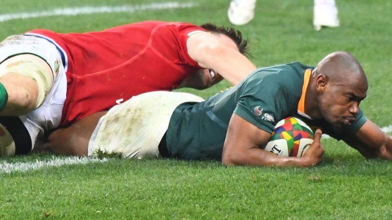 Makazole Mapimpi a marqué le premier essai du Test au début de la seconde mi-temps