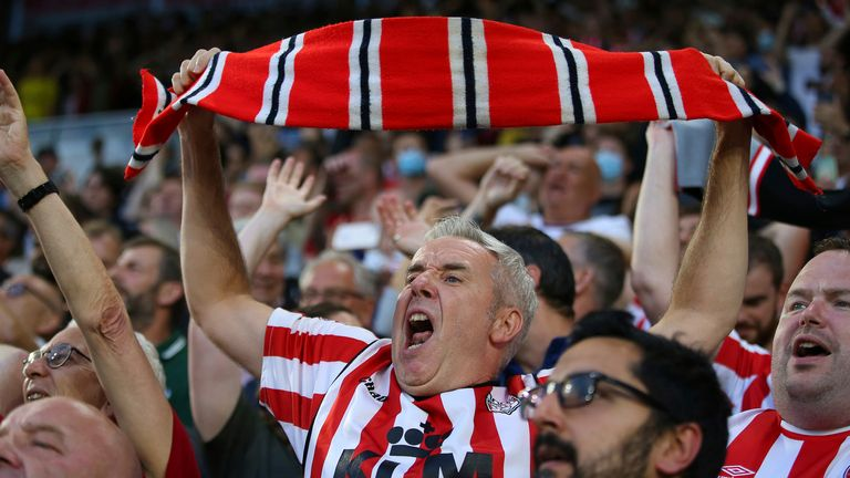 Brentford supporters helped their side to a 2-0 win over Norwich