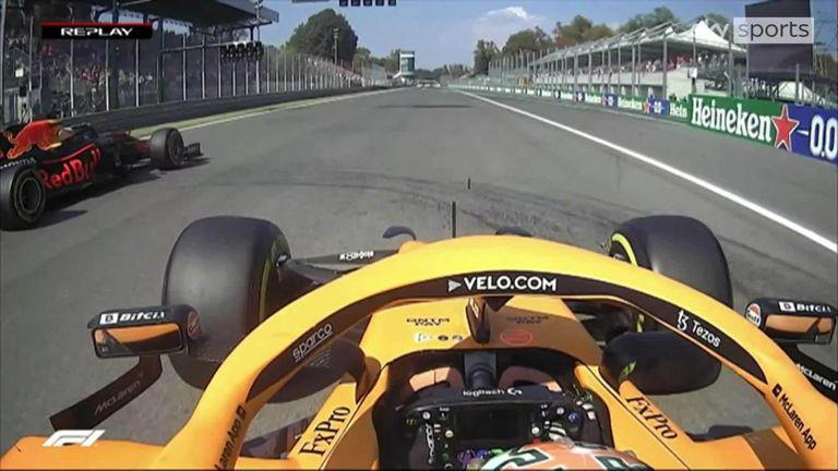 Regardez de plus près le départ de la course alors que Daniel Ricciardo mène Max Verstappen dans le premier virage lors du GP d'Italie.
