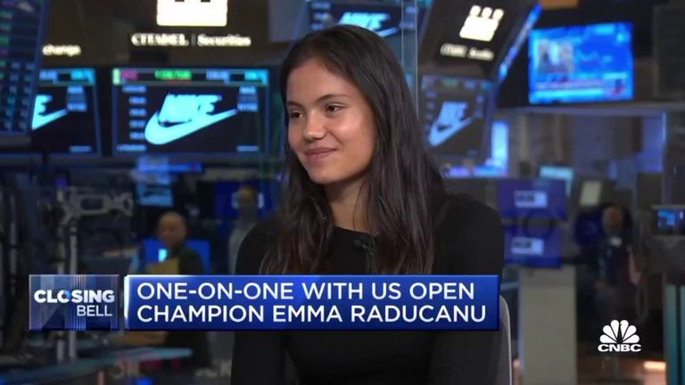 US Open champion Emma Raducanu says she has a few days of rest and recovery planned before she returns to playing tennis. Credit: CNBC Closing Bell