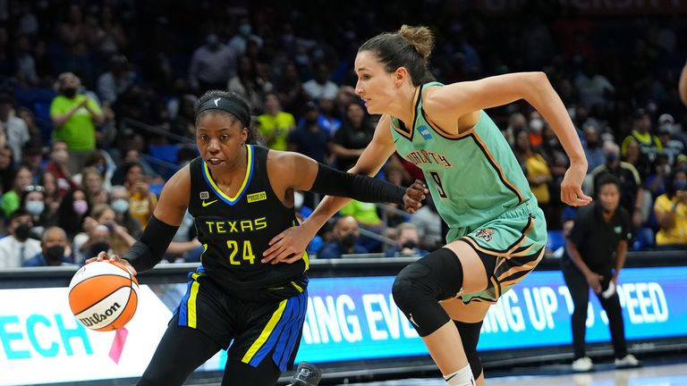 Arike Ogunbowale #24 of the Dallas Wings drives to the basket against the New York Liberty on September 11, 2021 at the College Park Center in Arlington, Texas.