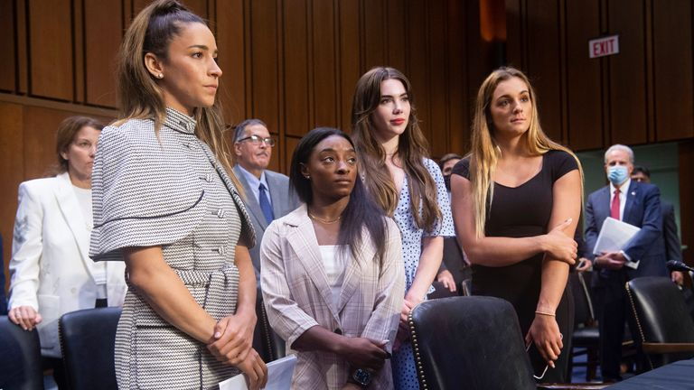 US Olympic gymnasts Aly Raisman, Simone Biles, McKayla Maroney and Maggie Nichols appeared before the Senate Judiciary Committee last month