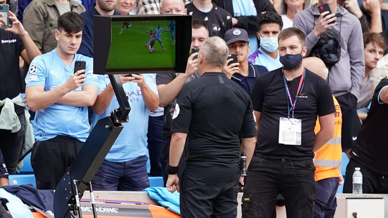 Jonathan Moss watched the incident back on the pitchside monitor