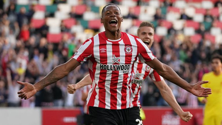 Brentford's Ethan Pinnock celebrates after he open the scoring against Liverpool