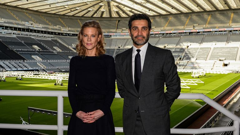 New Newcastle United directors Amanda Staveley (left) and Mehrdad Ghodoussi (right) stand inside St James' Park