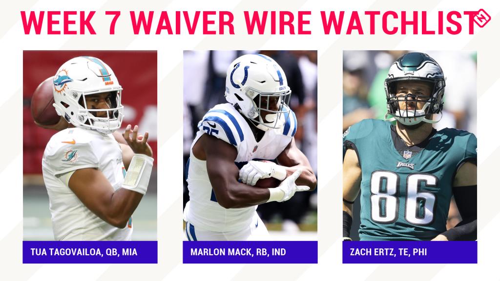 Fantasy Football Waiver Wire Watchlist for Week 7: Streaming targets, free agent sleepers include Tua Tagovailoa, Marlon Mack, Zach Ertz